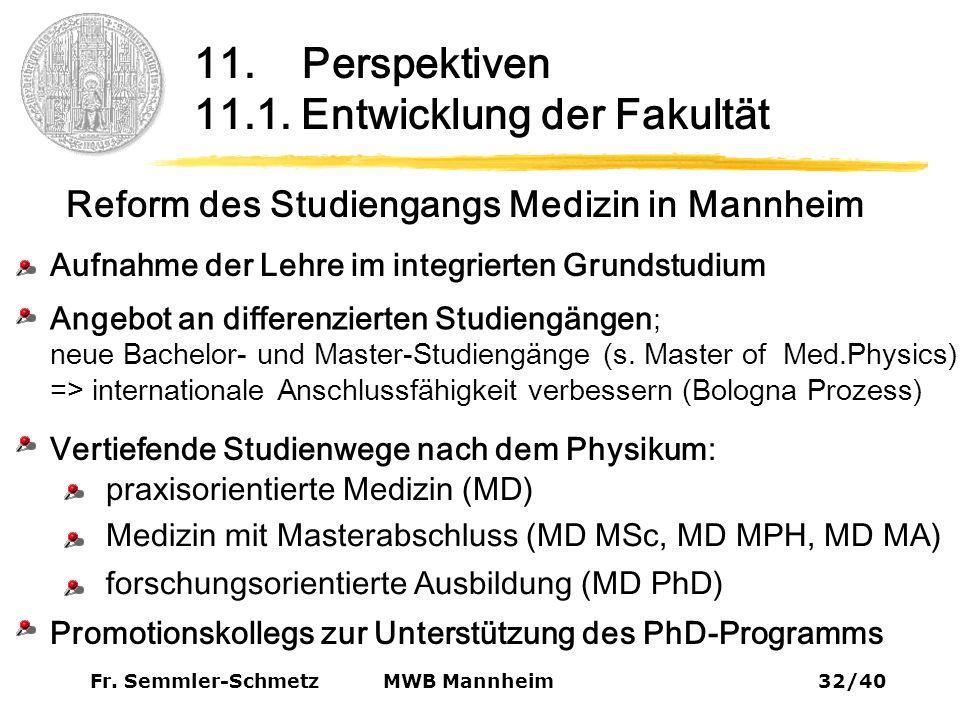 Fr. Semmler-Schmetz32/40 MWB Mannheim 11. Perspektiven 11.1.
