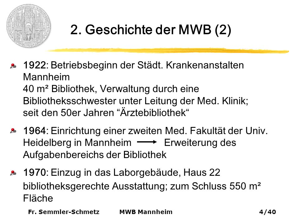 Fr. Semmler-Schmetz4/40 MWB Mannheim 2. Geschichte der MWB (2) 1922: Betriebsbeginn der Städt.