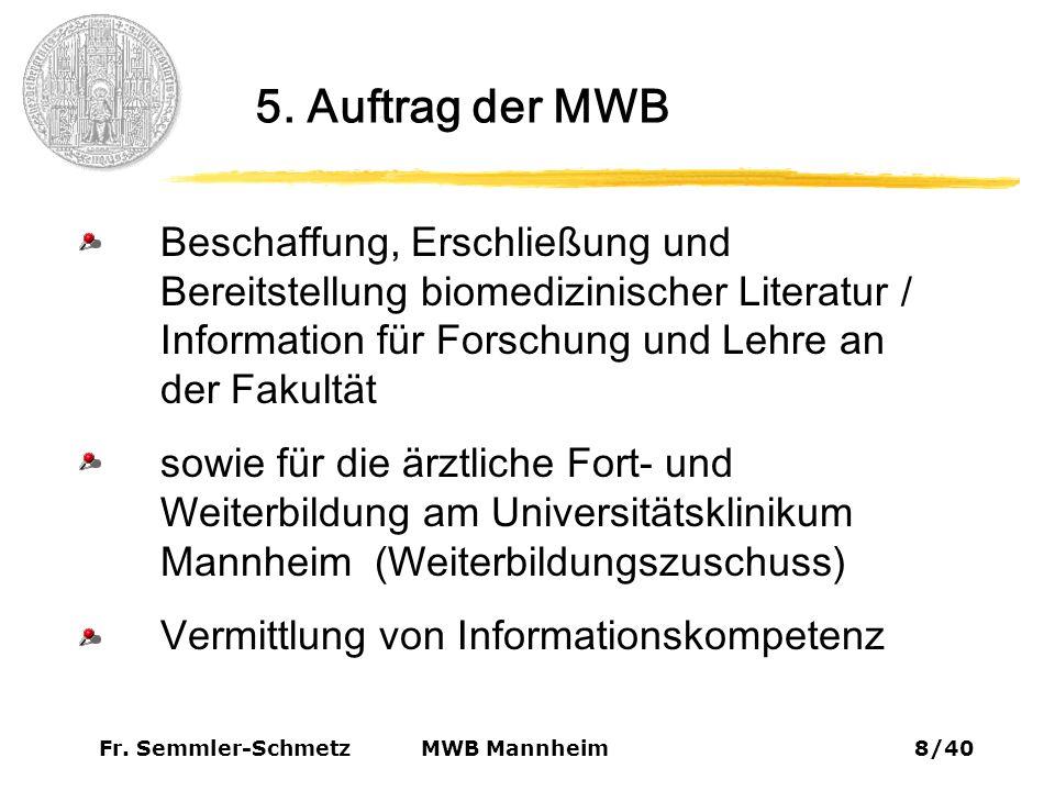 Fr. Semmler-Schmetz29/40 MWB Mannheim 9. Virtuelle Bibliothek 9.5. i3v-Library