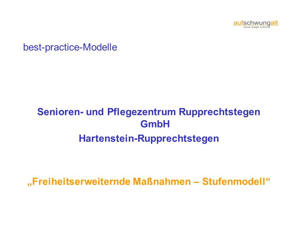 best-practice-Modelle Senioren- und Pflegezentrum Rupprechtstegen GmbH Hartenstein-Rupprechtstegen Freiheitserweiternde Maßnahmen – Stufenmodell