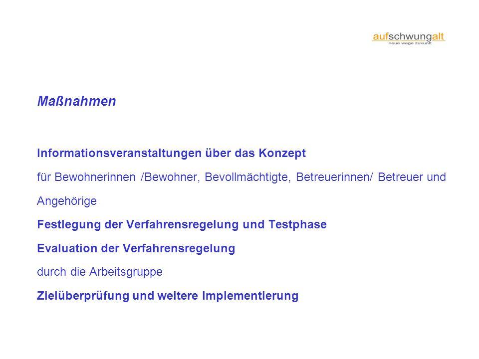 Maßnahmen Informationsveranstaltungen über das Konzept für Bewohnerinnen /Bewohner, Bevollmächtigte, Betreuerinnen/ Betreuer und Angehörige Festlegung