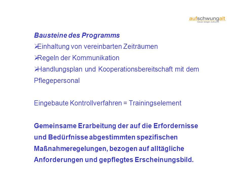 Bausteine des Programms Einhaltung von vereinbarten Zeiträumen Regeln der Kommunikation Handlungsplan und Kooperationsbereitschaft mit dem Pflegeperso