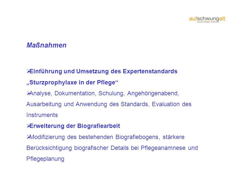 Maßnahmen Einführung und Umsetzung des Expertenstandards Sturzprophylaxe in der Pflege Analyse, Dokumentation, Schulung, Angehörigenabend, Ausarbeitun