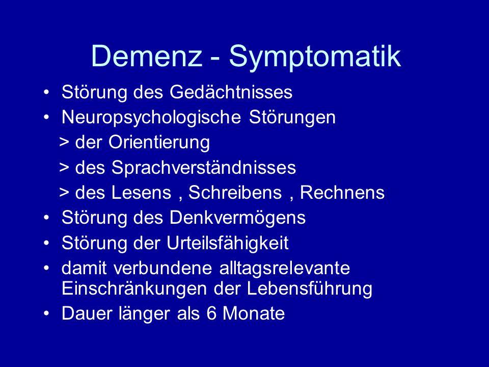 Demenzassoziierte Verhaltensstörungen Depressives Syndrom Sinnestäuschungen Wahnerleben ( psychotisches Syndrom ) Schlafstörungen Psychomotorische Unruhezustände > Angst > Erregungszustände > Aggressivität