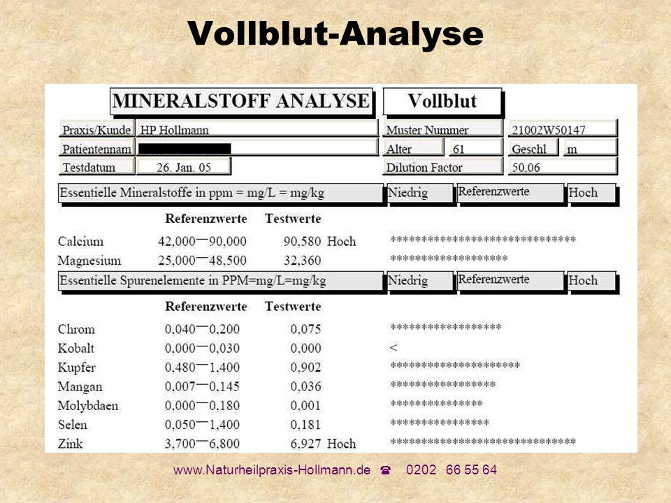www.Naturheilpraxis-Hollmann.de 0202 66 55 64 Vollblut-Analyse