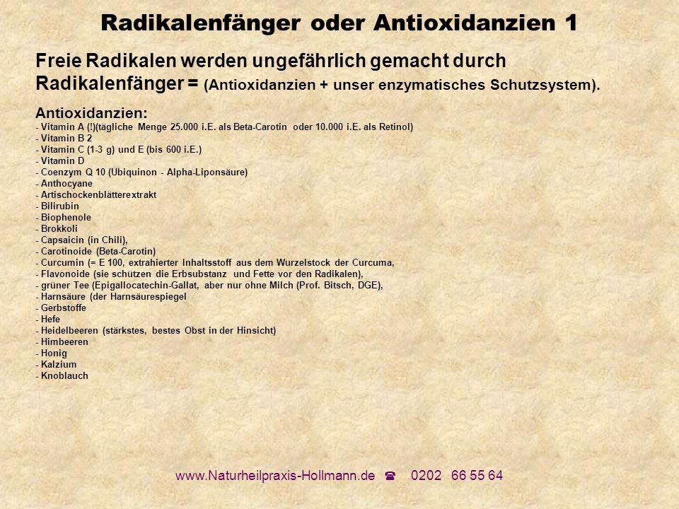 www.Naturheilpraxis-Hollmann.de 0202 66 55 64 Radikalenfänger oder Antioxidanzien 1 Freie Radikalen werden ungefährlich gemacht durch Radikalenfänger