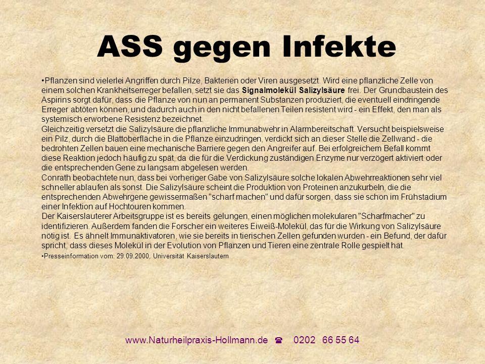 www.Naturheilpraxis-Hollmann.de 0202 66 55 64 ASS gegen Infekte Pflanzen sind vielerlei Angriffen durch Pilze, Bakterien oder Viren ausgesetzt. Wird e