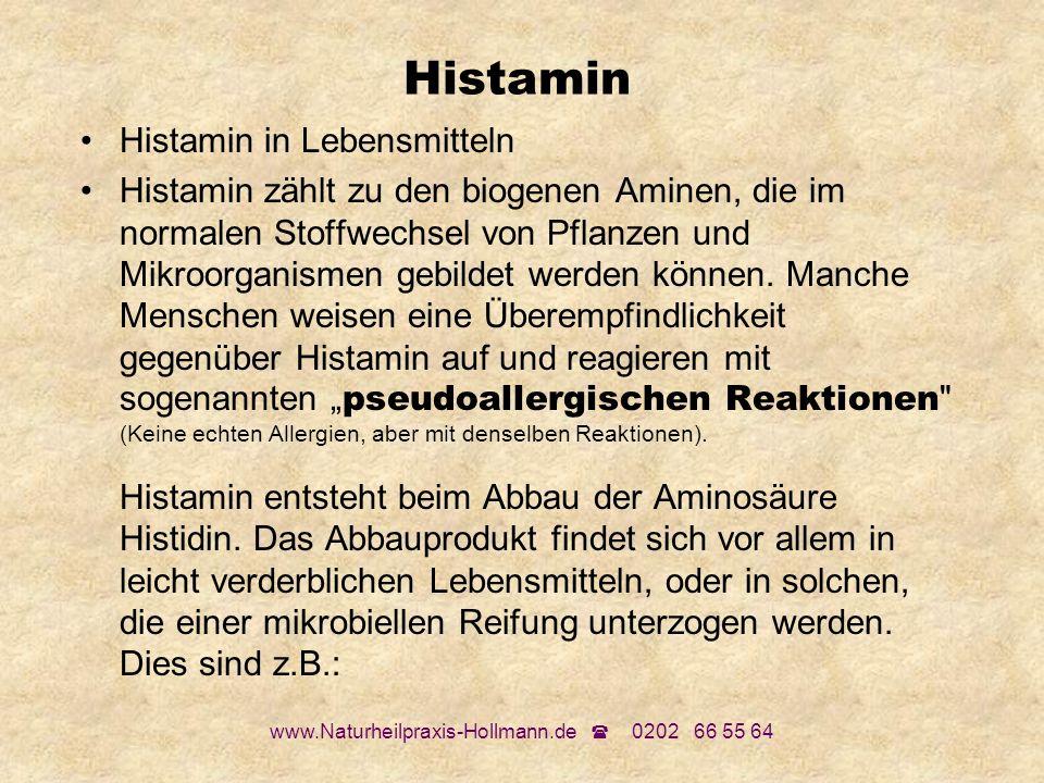 www.Naturheilpraxis-Hollmann.de 0202 66 55 64 Histamin Histamin in Lebensmitteln Histamin zählt zu den biogenen Aminen, die im normalen Stoffwechsel v