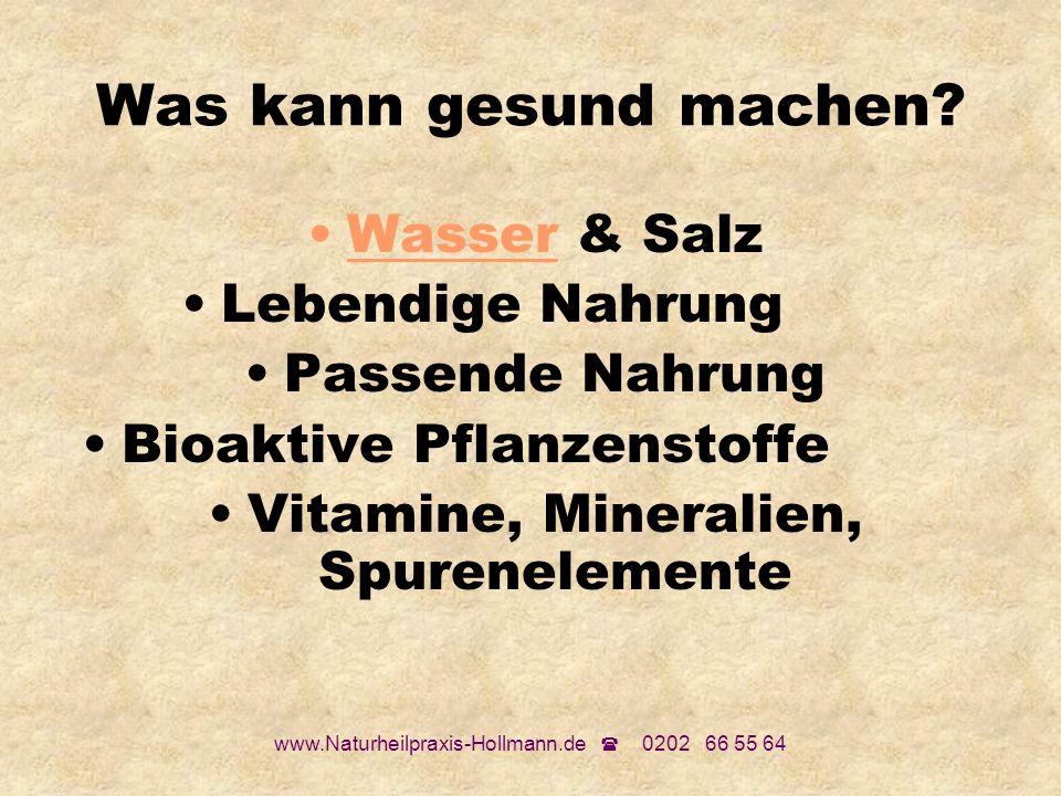 www.Naturheilpraxis-Hollmann.de 0202 66 55 64 Was kann gesund machen? Wasser & Salz Lebendige Nahrung Passende Nahrung Bioaktive Pflanzenstoffe Vitami