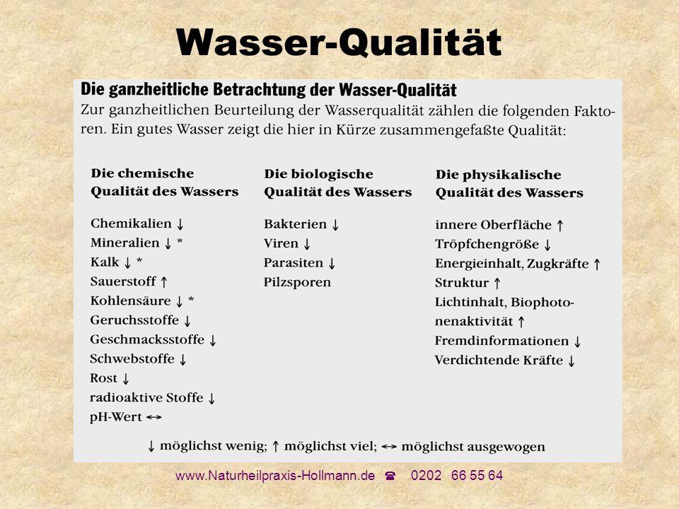 www.Naturheilpraxis-Hollmann.de 0202 66 55 64 Wasser-Qualität