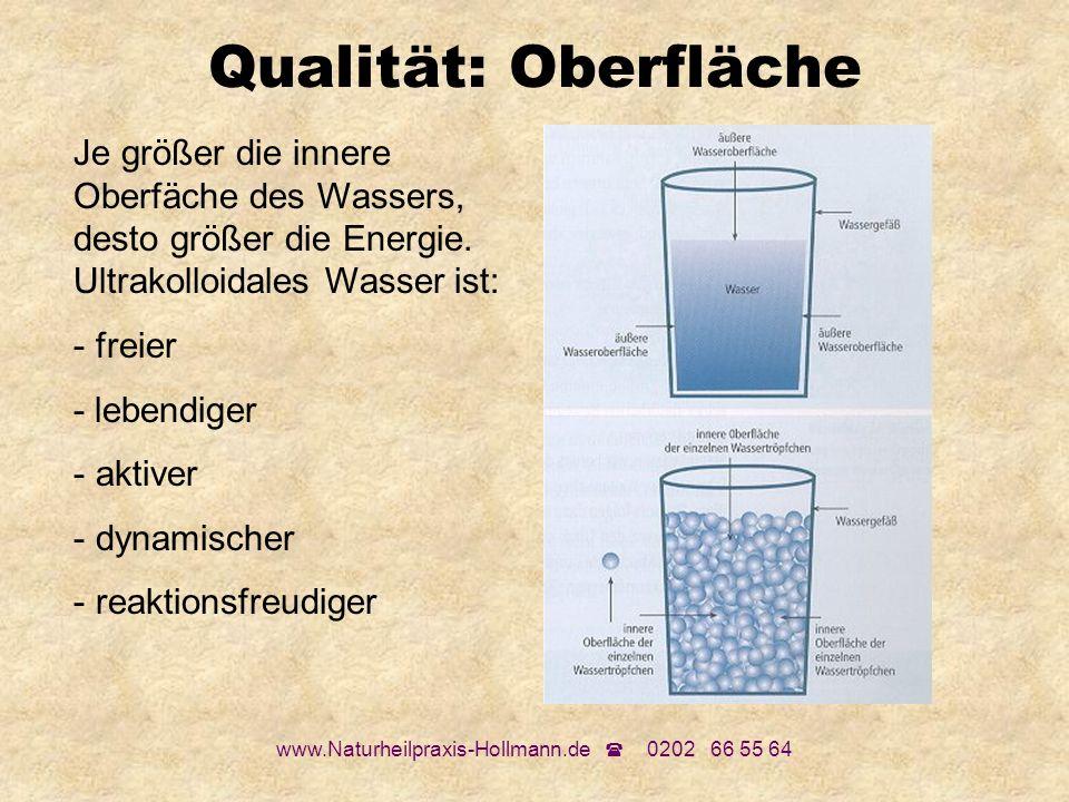www.Naturheilpraxis-Hollmann.de 0202 66 55 64 Qualität: Oberfläche Je größer die innere Oberfäche des Wassers, desto größer die Energie. Ultrakolloida