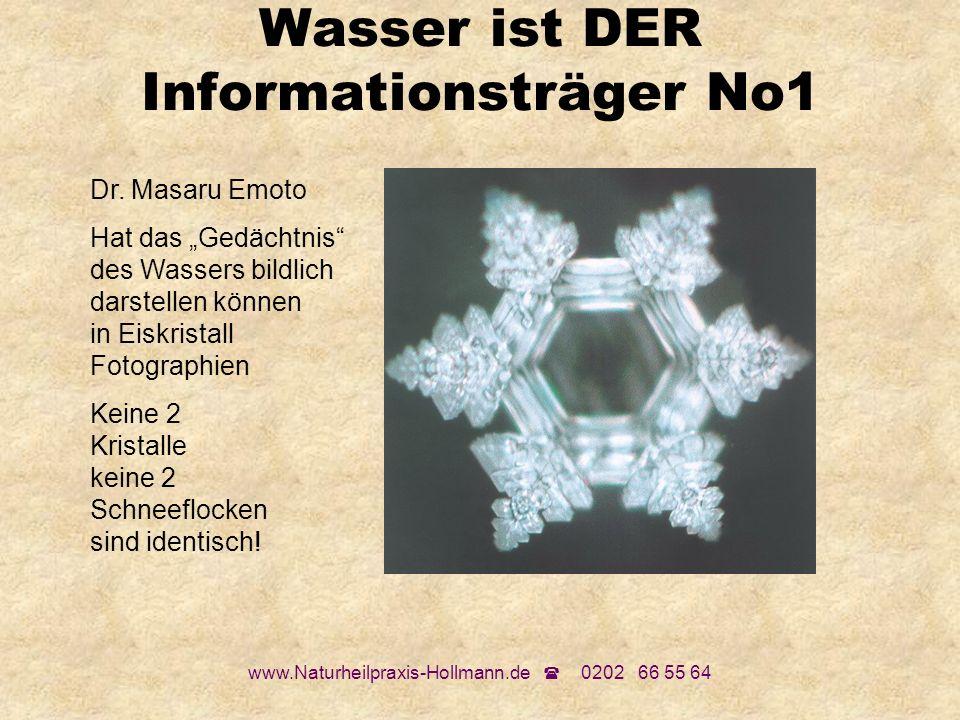 www.Naturheilpraxis-Hollmann.de 0202 66 55 64 Wasser ist DER Informationsträger No1 Dr. Masaru Emoto Hat das Gedächtnis des Wassers bildlich darstelle