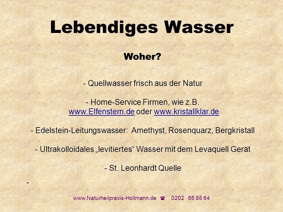 www.Naturheilpraxis-Hollmann.de 0202 66 55 64 Lebendiges Wasser Woher? - Quellwasser frisch aus der Natur - Home-Service Firmen, wie z.B. www.Elfenste