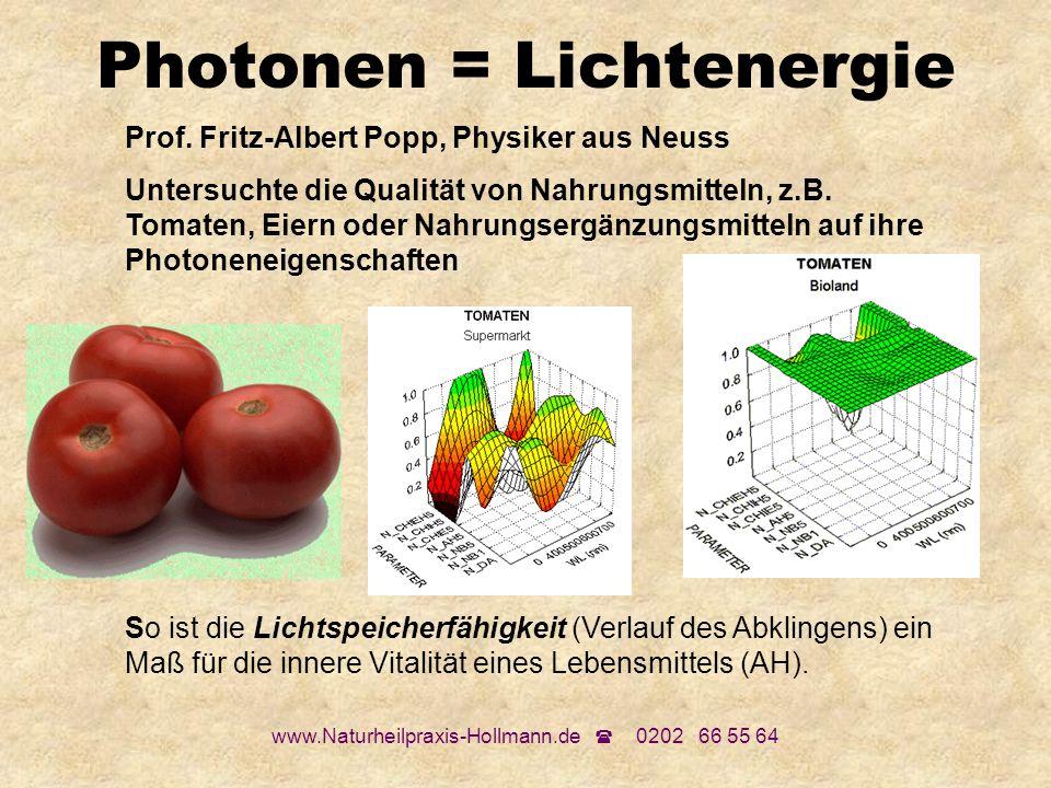 www.Naturheilpraxis-Hollmann.de 0202 66 55 64 Photonen = Lichtenergie Prof. Fritz-Albert Popp, Physiker aus Neuss Untersuchte die Qualität von Nahrung