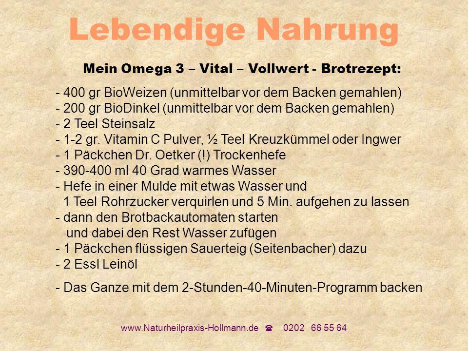 www.Naturheilpraxis-Hollmann.de 0202 66 55 64 Lebendige Nahrung Mein Omega 3 – Vital – Vollwert - Brotrezept: - 400 gr BioWeizen (unmittelbar vor dem
