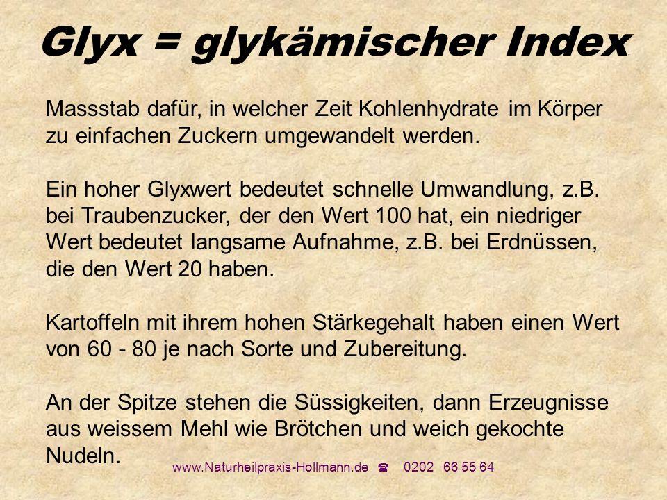 www.Naturheilpraxis-Hollmann.de 0202 66 55 64 Glyx = glykämischer Index. Massstab dafür, in welcher Zeit Kohlenhydrate im Körper zu einfachen Zuckern