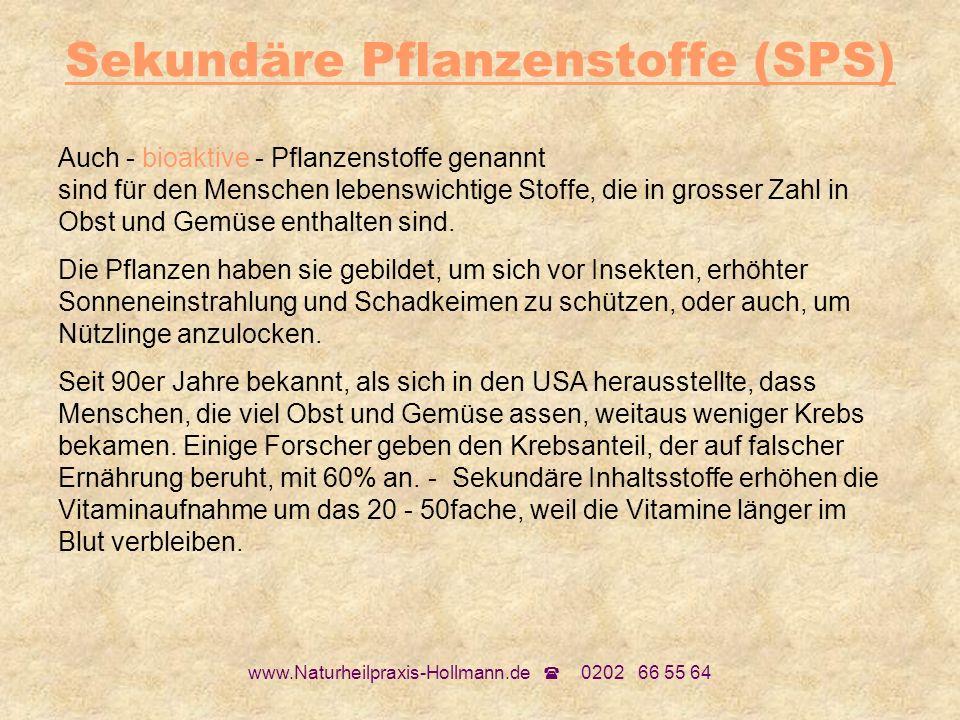 www.Naturheilpraxis-Hollmann.de 0202 66 55 64 Sekundäre Pflanzenstoffe (SPS) Auch - bioaktive - Pflanzenstoffe genannt sind für den Menschen lebenswic
