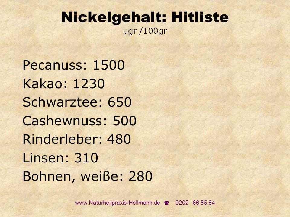 www.Naturheilpraxis-Hollmann.de 0202 66 55 64 Nickelgehalt: Hitliste µgr /100gr Pecanuss: 1500 Kakao: 1230 Schwarztee: 650 Cashewnuss: 500 Rinderleber
