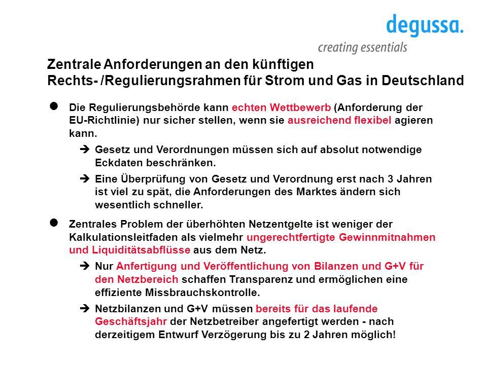 Zentrale Anforderungen an den künftigen Rechts- /Regulierungsrahmen für Strom und Gas in Deutschland Die Regulierungsbehörde kann echten Wettbewerb (A