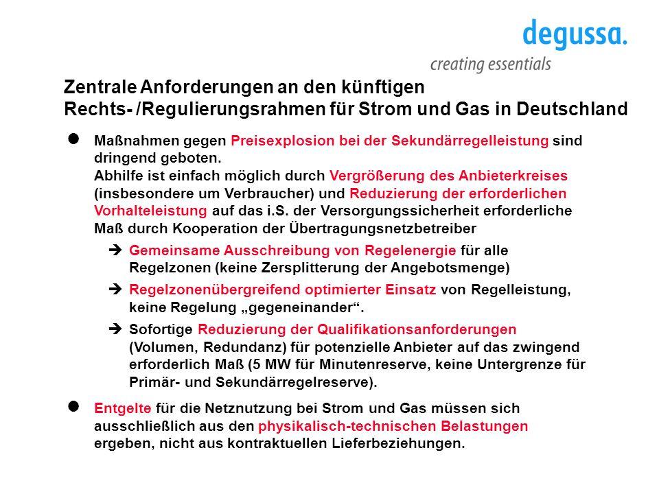 Zentrale Anforderungen an den künftigen Rechts- /Regulierungsrahmen für Strom und Gas in Deutschland Maßnahmen gegen Preisexplosion bei der Sekundärre