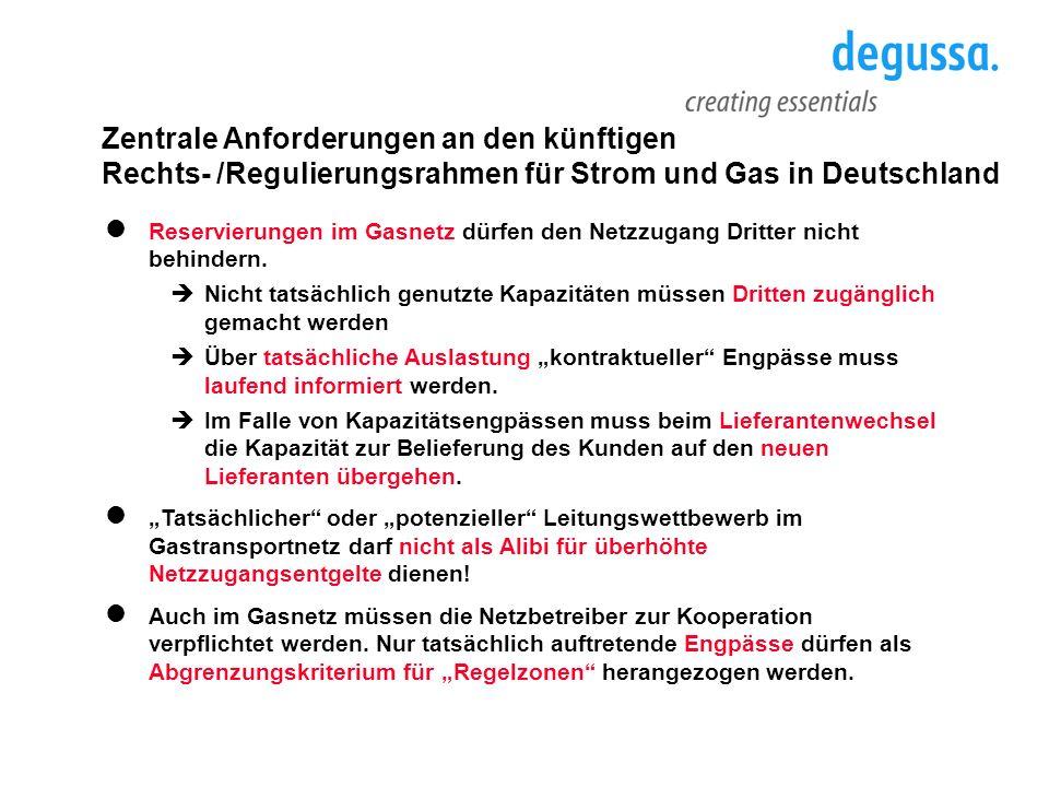 Zentrale Anforderungen an den künftigen Rechts- /Regulierungsrahmen für Strom und Gas in Deutschland Reservierungen im Gasnetz dürfen den Netzzugang D