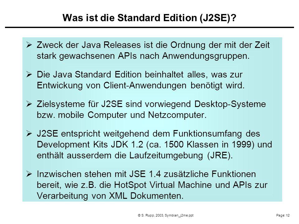 Page: 12© S. Rupp, 2003, Symbian_j2me.ppt Zweck der Java Releases ist die Ordnung der mit der Zeit stark gewachsenen APIs nach Anwendungsgruppen. Die