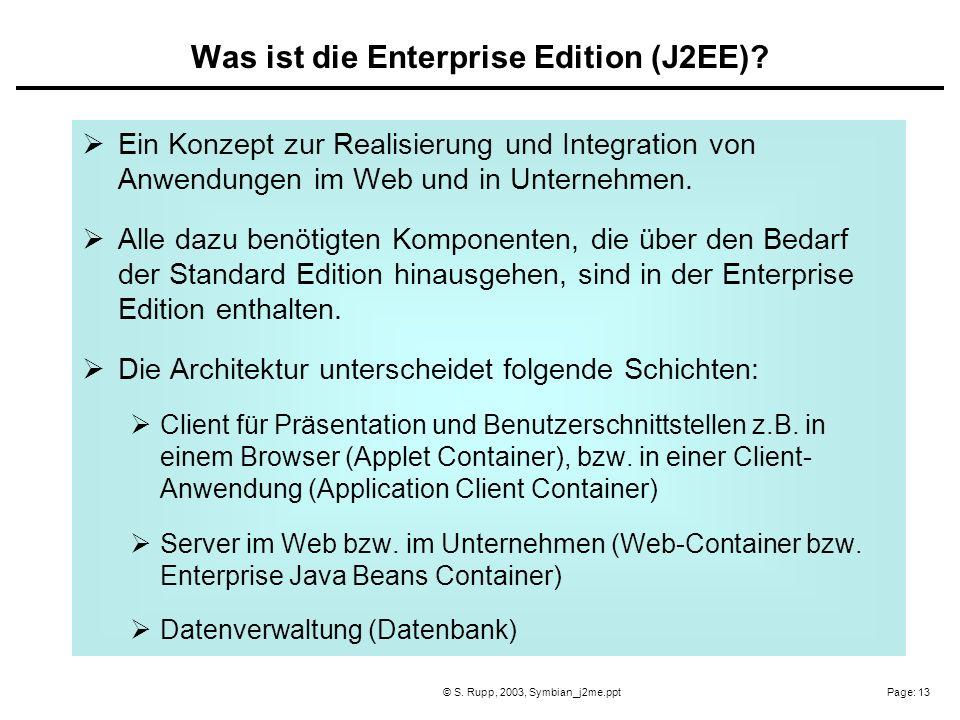 Page: 13© S. Rupp, 2003, Symbian_j2me.ppt Ein Konzept zur Realisierung und Integration von Anwendungen im Web und in Unternehmen. Alle dazu benötigten