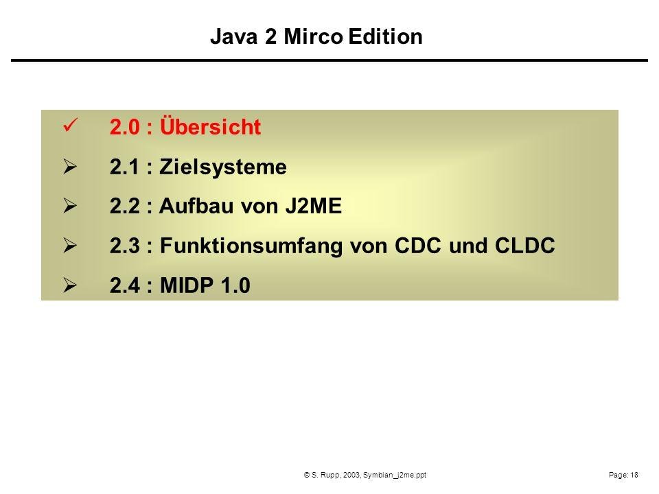 Page: 18© S. Rupp, 2003, Symbian_j2me.ppt 2.0 : Übersicht 2.1 : Zielsysteme 2.2 : Aufbau von J2ME 2.3 : Funktionsumfang von CDC und CLDC 2.4 : MIDP 1.