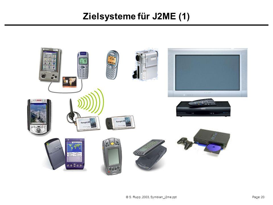 Page: 20© S. Rupp, 2003, Symbian_j2me.ppt Zielsysteme für J2ME (1)