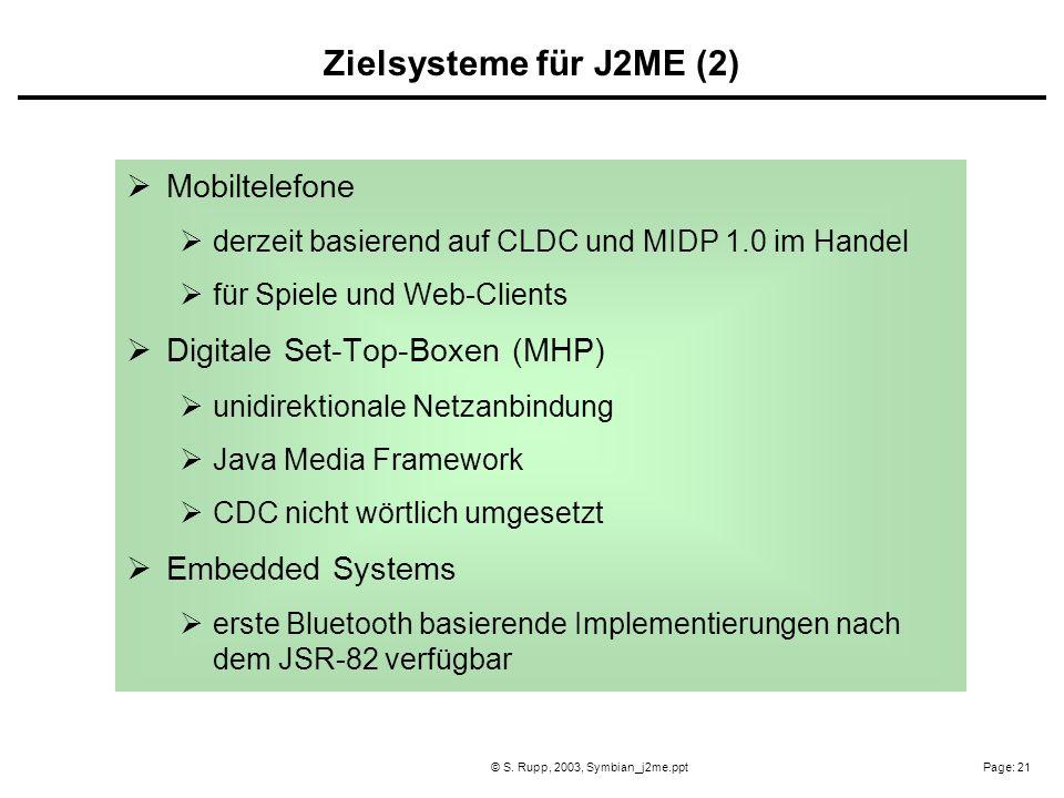 Page: 21© S. Rupp, 2003, Symbian_j2me.ppt Mobiltelefone derzeit basierend auf CLDC und MIDP 1.0 im Handel für Spiele und Web-Clients Digitale Set-Top-