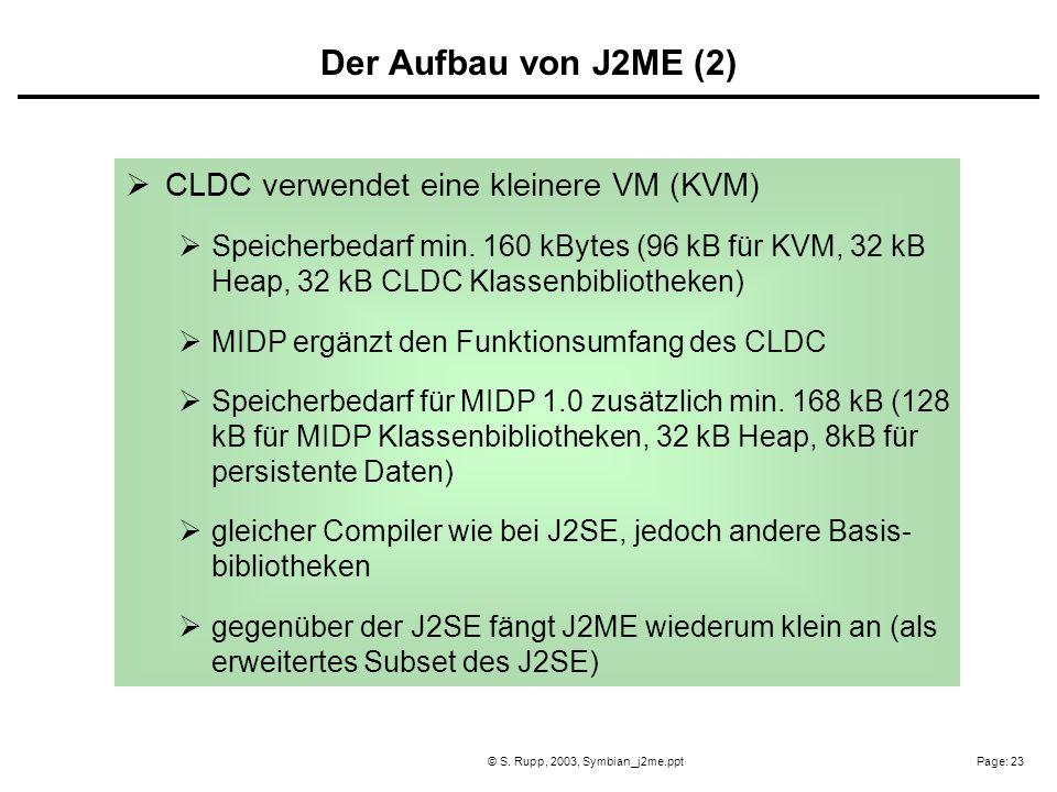 Page: 23© S. Rupp, 2003, Symbian_j2me.ppt CLDC verwendet eine kleinere VM (KVM) Speicherbedarf min. 160 kBytes (96 kB für KVM, 32 kB Heap, 32 kB CLDC