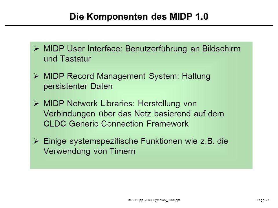 Page: 27© S. Rupp, 2003, Symbian_j2me.ppt MIDP User Interface: Benutzerführung an Bildschirm und Tastatur MIDP Record Management System: Haltung persi