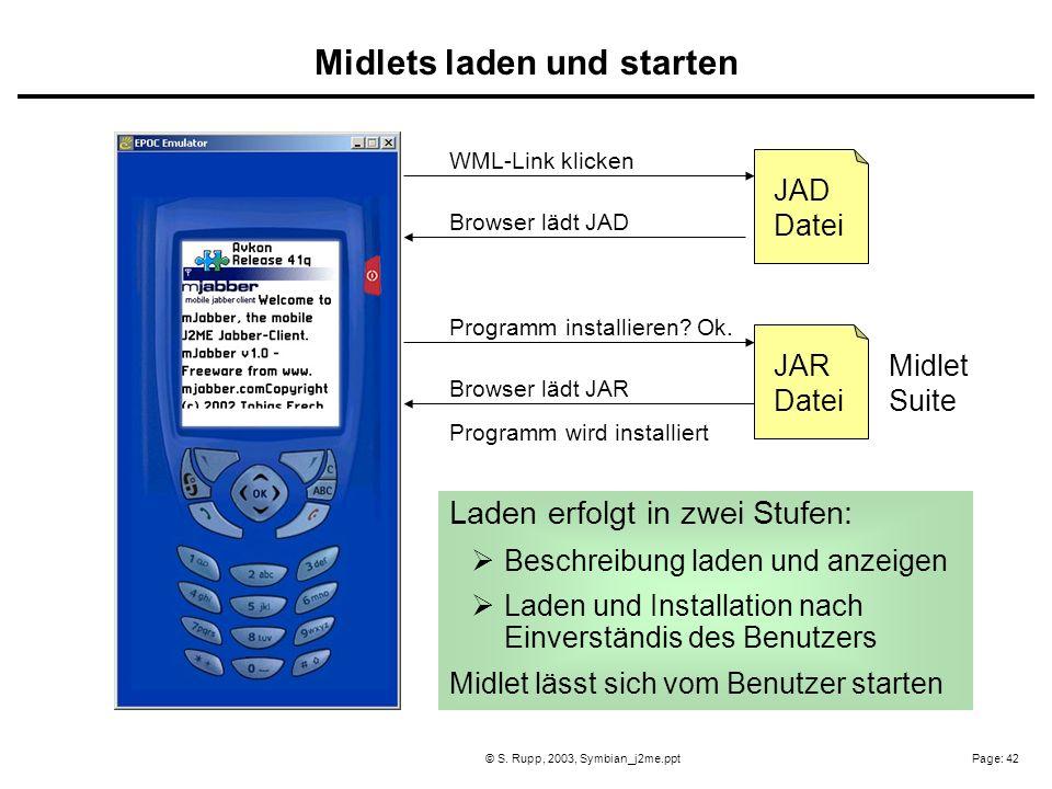 Page: 42© S. Rupp, 2003, Symbian_j2me.ppt JAD Datei JAR Datei WML-Link klicken Browser lädt JAD Programm installieren? Ok. Browser lädt JAR Midlet Sui