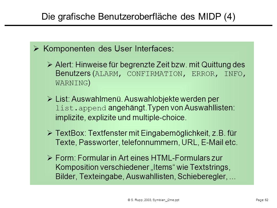 Page: 52© S. Rupp, 2003, Symbian_j2me.ppt Komponenten des User Interfaces: Alert: Hinweise für begrenzte Zeit bzw. mit Quittung des Benutzers ( ALARM,