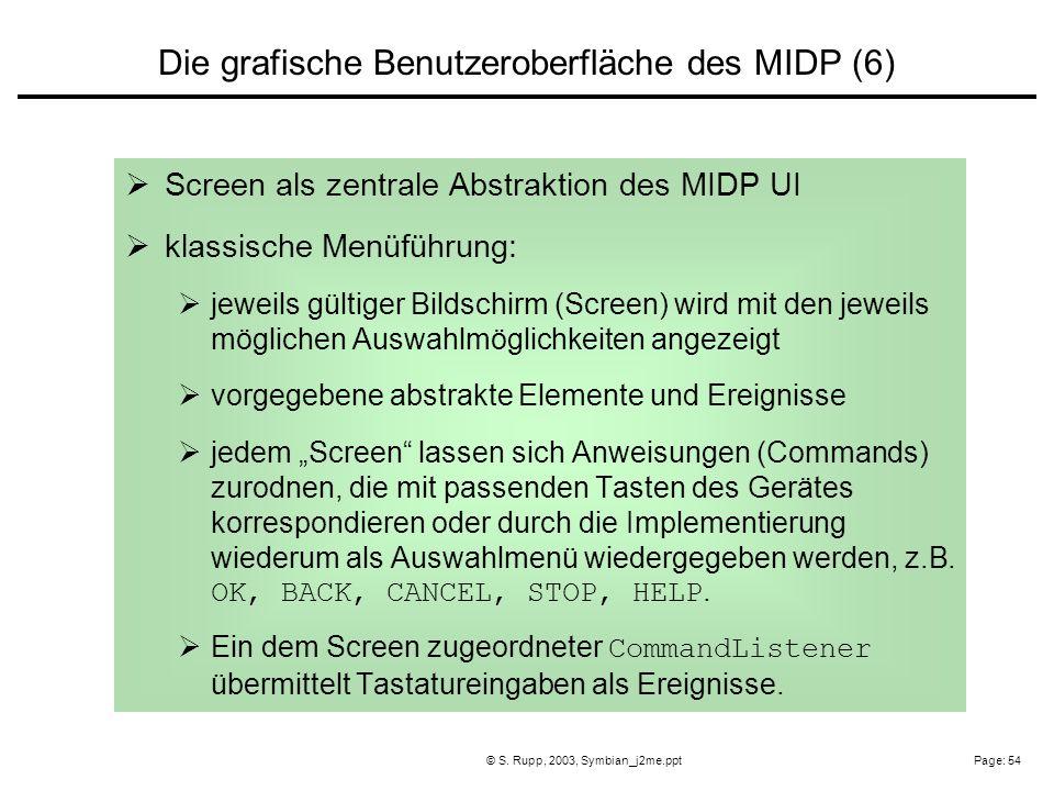 Page: 54© S. Rupp, 2003, Symbian_j2me.ppt Screen als zentrale Abstraktion des MIDP UI klassische Menüführung: jeweils gültiger Bildschirm (Screen) wir