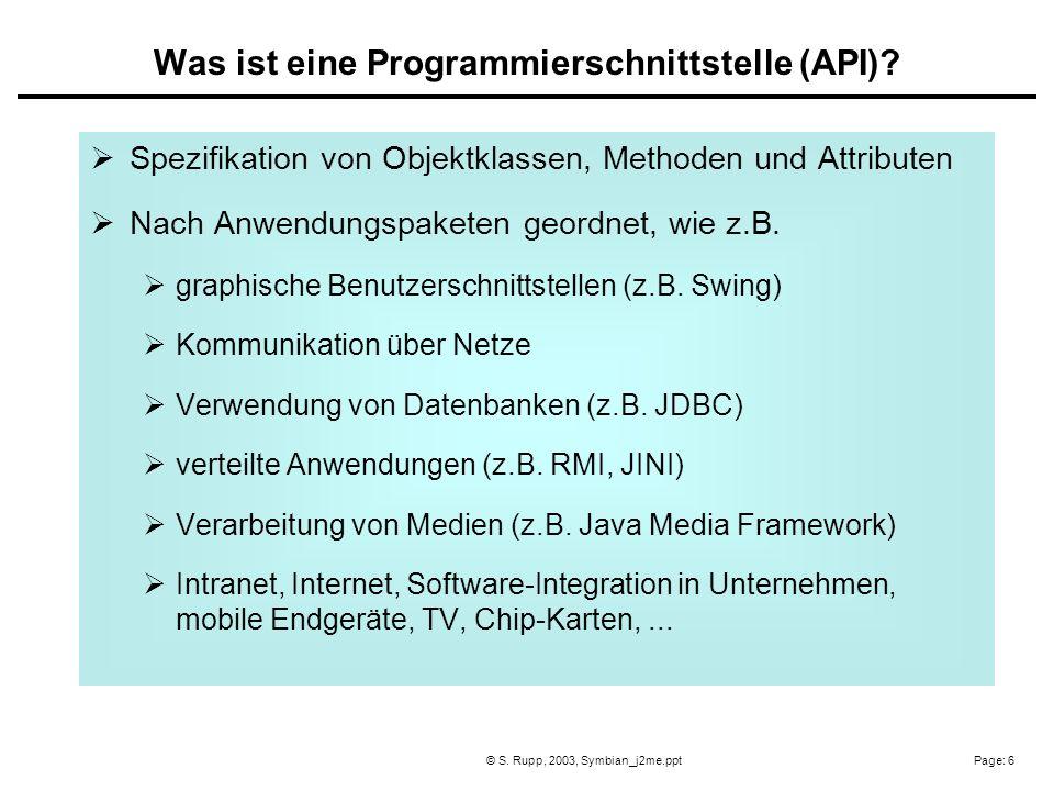 Page: 6© S. Rupp, 2003, Symbian_j2me.ppt Spezifikation von Objektklassen, Methoden und Attributen Nach Anwendungspaketen geordnet, wie z.B. graphische