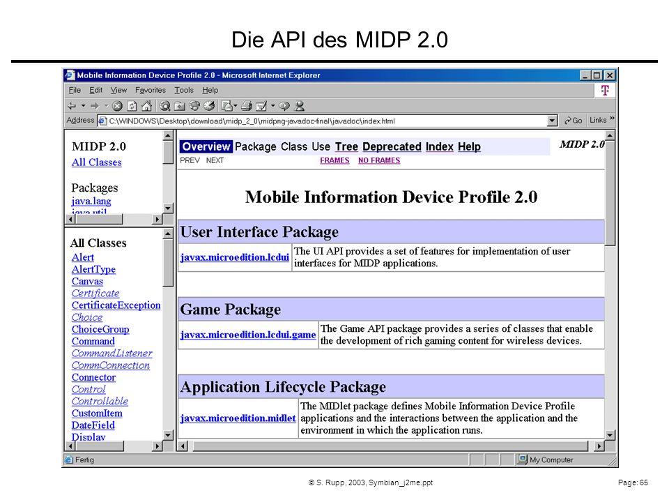Page: 65© S. Rupp, 2003, Symbian_j2me.ppt Die API des MIDP 2.0