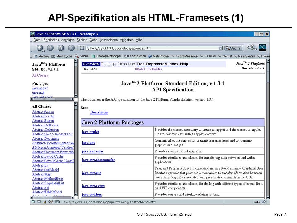 Page: 7© S. Rupp, 2003, Symbian_j2me.ppt API-Spezifikation als HTML-Framesets (1)