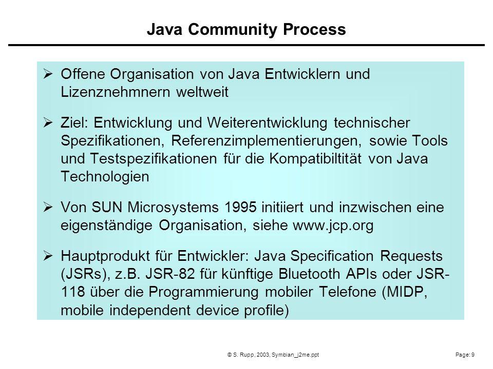 Page: 9© S. Rupp, 2003, Symbian_j2me.ppt Offene Organisation von Java Entwicklern und Lizenznehmnern weltweit Ziel: Entwicklung und Weiterentwicklung