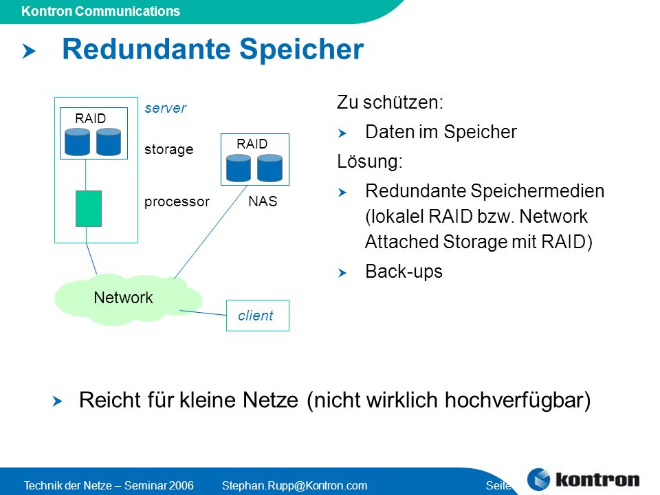 Presentation Title Kontron Communications Technik der Netze – Seminar 2006Stephan.Rupp@Kontron.com Seite 39 RAID Redundante Speicher processor storage