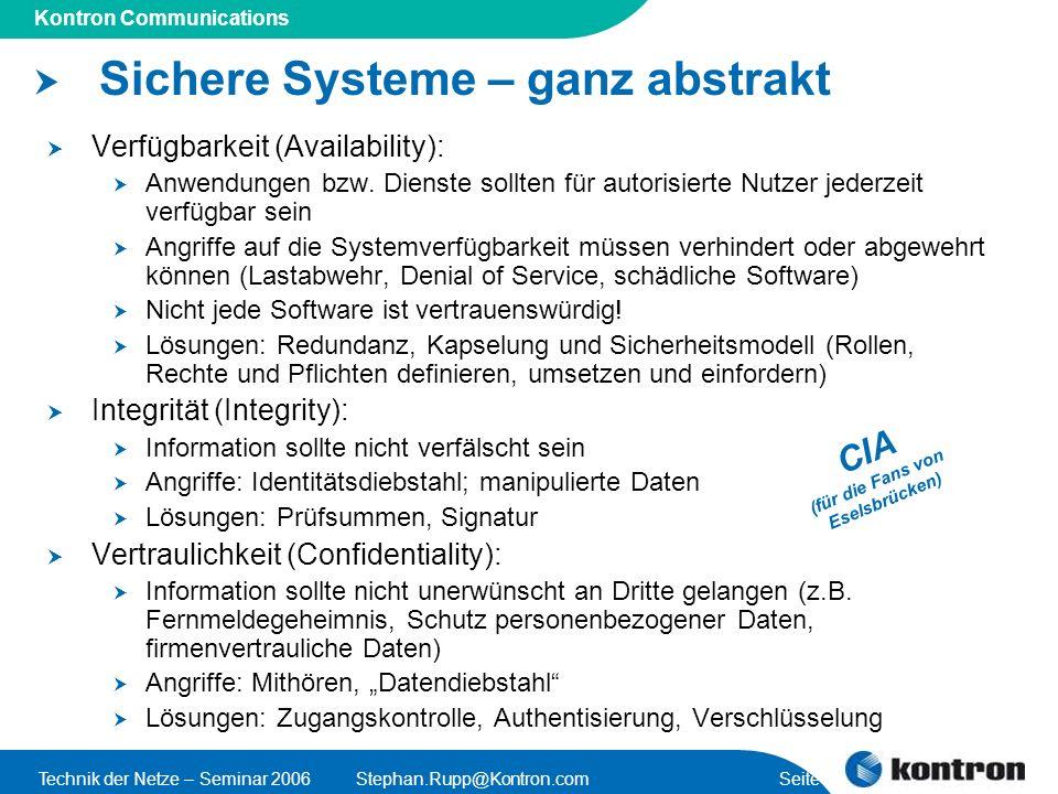Presentation Title Kontron Communications Technik der Netze – Seminar 2006Stephan.Rupp@Kontron.com Seite 25 Verschlüsselung und Entschlüsselung