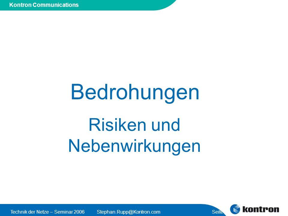 Presentation Title Kontron Communications Technik der Netze – Seminar 2006Stephan.Rupp@Kontron.com Seite 28 Nachricht bzw.
