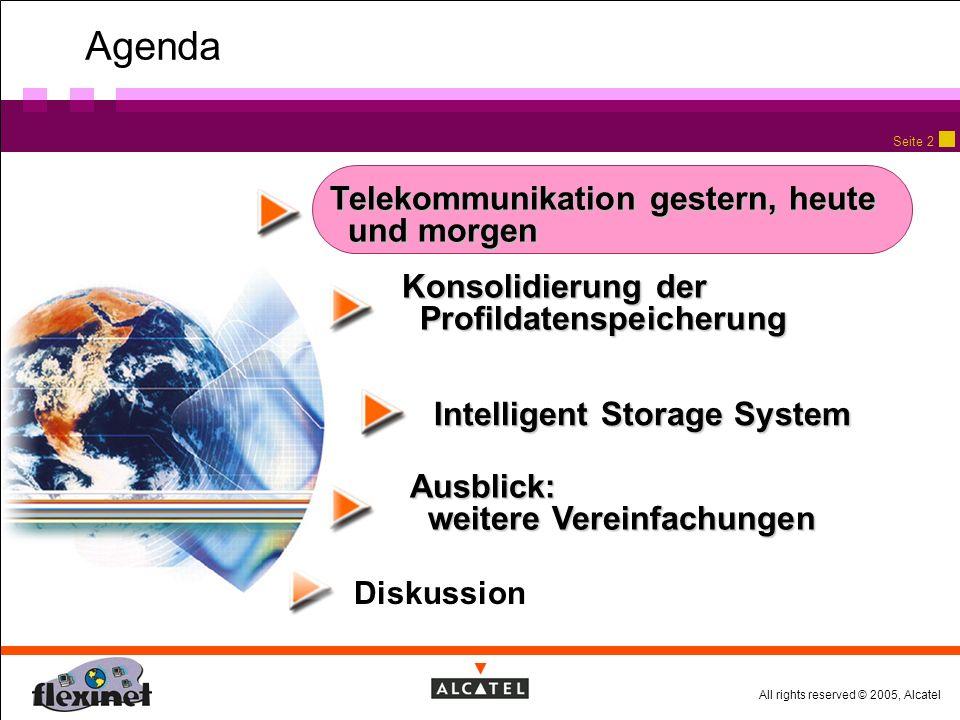 All rights reserved © 2005, Alcatel Seite 2 Agenda Telekommunikation gestern, heute und morgen Diskussion Konsolidierung der Profildatenspeicherung Ausblick: weitere Vereinfachungen Intelligent Storage System