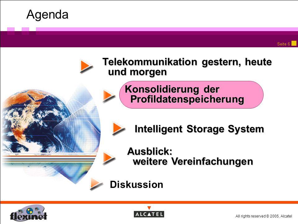 All rights reserved © 2005, Alcatel Seite 6 Agenda Telekommunikation gestern, heute und morgen Diskussion Konsolidierung der Profildatenspeicherung Intelligent Storage System Ausblick: weitere Vereinfachungen