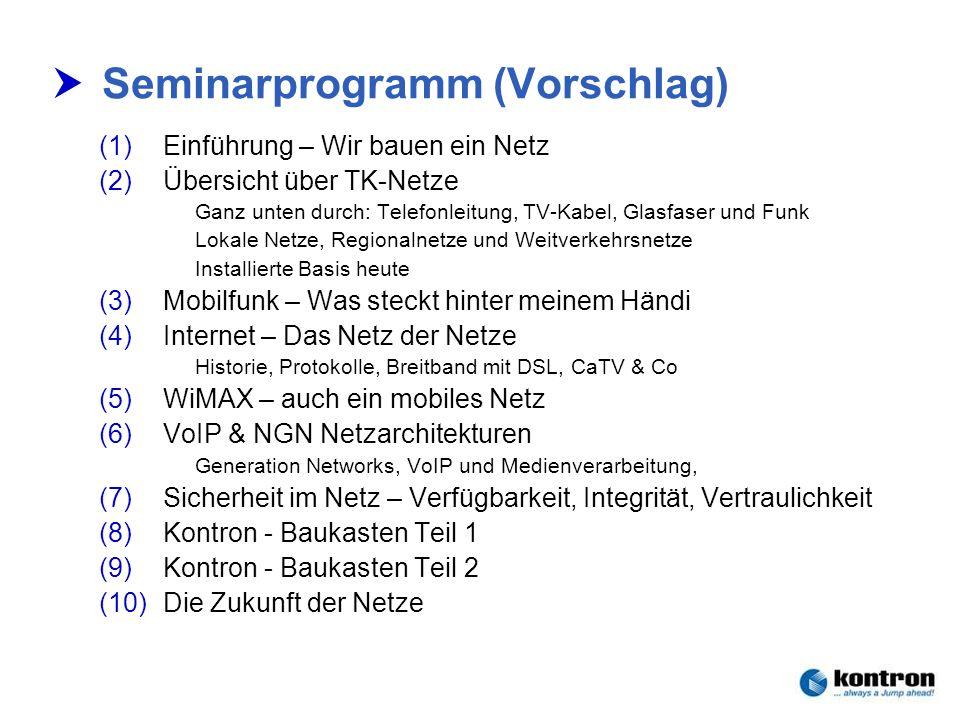 Technik der Netze – Seminar 2006Stephan.Rupp@Kontron.com Seite 2 Kontron Communications Seminarprogramm (Vorschlag) (1)Einführung – Wir bauen ein Netz
