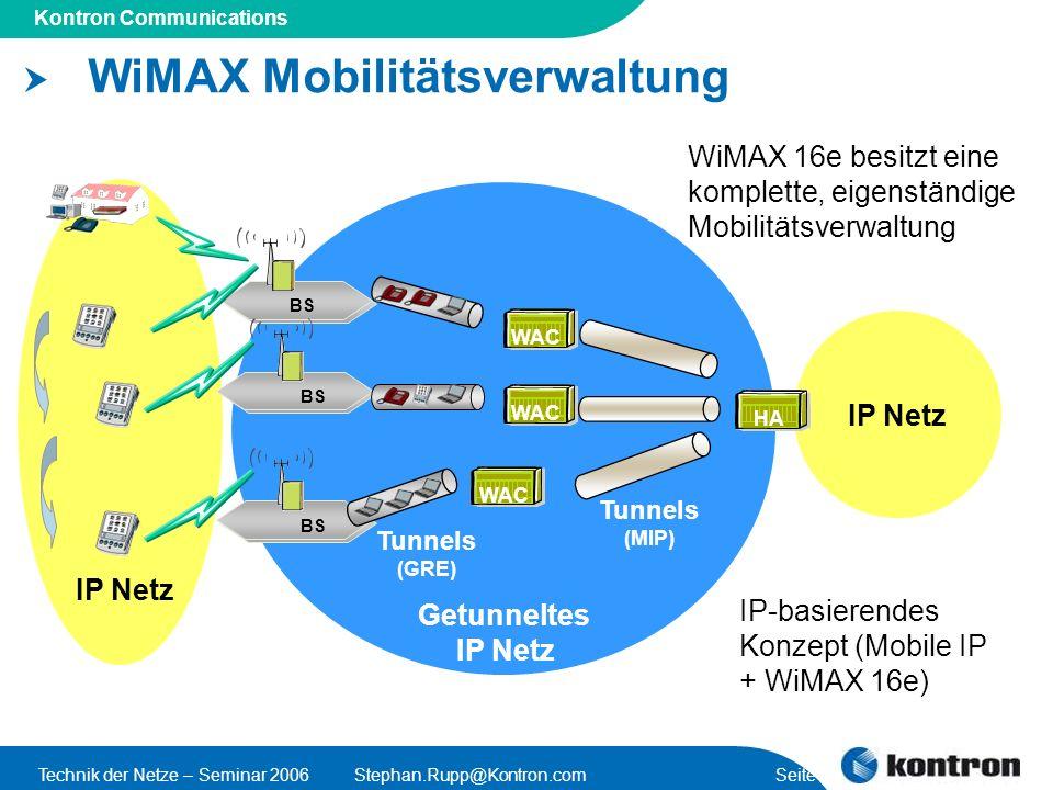 Presentation Title Kontron Communications Technik der Netze – Seminar 2006Stephan.Rupp@Kontron.com Seite 14 WiMAX Mobilitätsverwaltung Tunnels (GRE) BS WAC BS IP Netz Tunnels (MIP) WiMAX 16e besitzt eine komplette, eigenständige Mobilitätsverwaltung IP Netz Getunneltes IP Netz IP-basierendes Konzept (Mobile IP + WiMAX 16e) HA