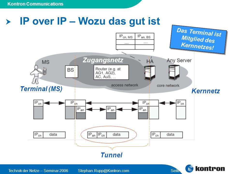 Presentation Title Kontron Communications Technik der Netze – Seminar 2006Stephan.Rupp@Kontron.com Seite 15 IP over IP – Wozu das gut ist Tunnel Das Terminal ist Mitglied des Kernnetzes.