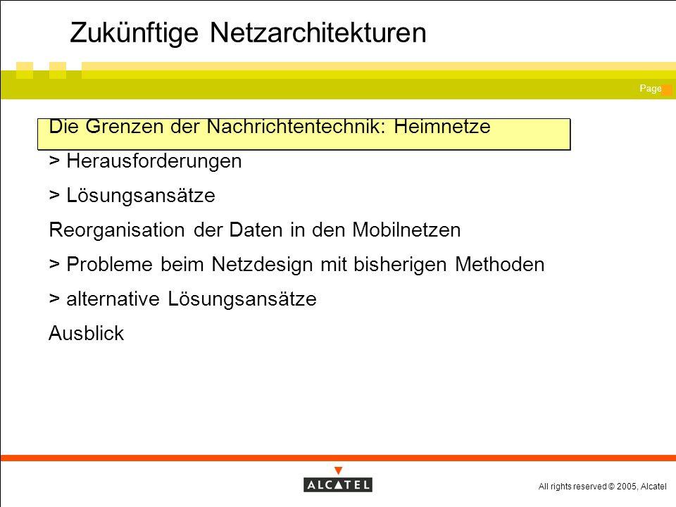 All rights reserved © 2005, Alcatel Page Die Grenzen der Nachrichtentechnik: Heimnetze Zusammenspiel .