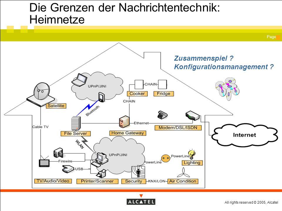 All rights reserved © 2005, Alcatel Page Heutige Mobilnetze Jeder Funktion ein eigenes Netzelement.