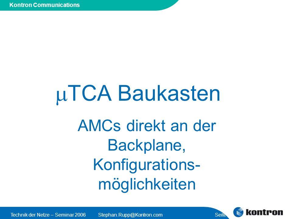 Presentation Title Kontron Communications Technik der Netze – Seminar 2006Stephan.Rupp@Kontron.com Seite 42 TCA Baukasten AMCs direkt an der Backplane, Konfigurations- möglichkeiten